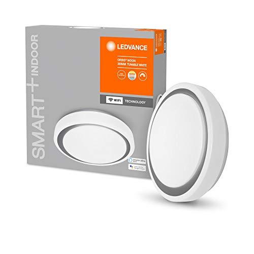LEDVANCE Aplique y plafón LED inteligente para uso en interiores con tecnología WiFi, color de luz cambiante (3000K-6500K), gris, 380mm, compatible con Google y Alexa, SMART+ WIFI ORBIS MOON