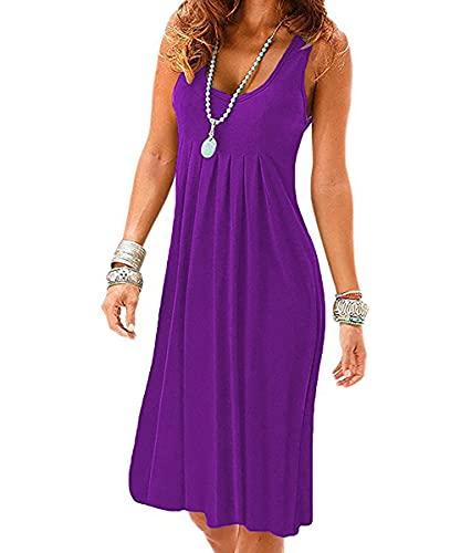 Vestidos Verano Mujer Mini Vestidos con Sin Mangas Cuello Redondo Mini Vestidos Estampado de Flores Plisados Playa Camisón Cintura Alta Elegantes Vestidos de Playa Sexy Vestidos