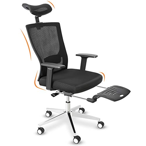 Home Office Chair Mesh, High Back Office Chair with Armrests Footrest Headrest, Height Adjustable Ergonomic Desk Chair 180°Reclining Lumbar Support Computer Chair BIFMA Certified (High-Back)