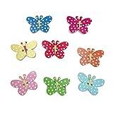 Healifty 50 bottoni in legno a forma di farfalla, colorati, a 2 fori, per cucito, scrapbooking, decorazione fai da te
