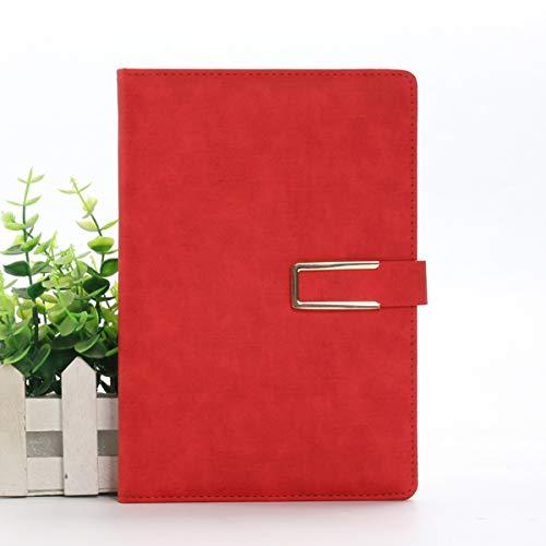 Diario de escritura gruesa con hebilla magnética 8.4 x 5.7 en tamaño A5 Tapa dura duradera Cuaderno forrado de diario personal de cuero vegano, 256 páginas / 128 hojas - Rojo