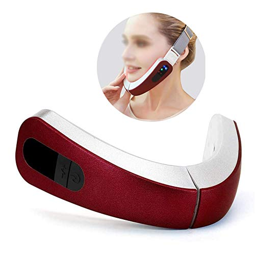 HEWYHAT Elektrisches V-förmiges Schlankheits-Gesichtsmassagegerät, LED-Photonentherapie-Vibration, EMS-Mikrostrom-Gesichtsmassage-Hebemaschine gegen Falten,Rot