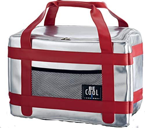 Kühltasche Kühlbox 20 Liter Silber/Rot hochwertig BE CooL City Picknickkorb foolonli