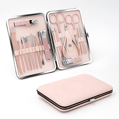VKK Kit Complet Manucure Pedicure - Coupe Ongle Professionnel - Trousse Set de 18pcs, Belle Pochette ( Rose)