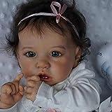 FTYUNWE Reborn Puppe Vollsilikon Mädchen Junge,Reborn Baby Puppe Lebensecht Die Sehr Echt Aussehen Vollsilikon Neugeborene Puppe Zum Kinder Geschenk Spielzeug,Mädchen-22 Zoll