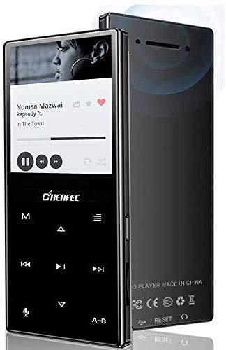MP3-Player 8 GB Bluetooth 5.0 Metall-Touch-Taste Sport-Musik-Player Eingebauter Lautsprecher, verlustfreier HiFi-Sound-Musik-Player mit UKW-Radio, erweiterbare SD-Karte bis zu 128 GB - Schwarz