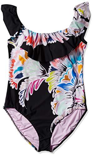 Trina Turk Women's Plus Size Off-The-Shoulder Ruffle Bandeau One Piece Swimsuit, Multi//Seychelles, 22W
