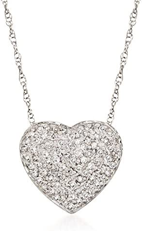 Ross Simons 0 25 ct t w Diamond Heart Pendant Necklace in 14kt White Gold 16 inches product image