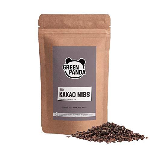 Kakao Nibs Bio ohne Zucker, aus Premium Kakaobohnen, rohe Cacao Nibs in biologisch abbaubarem Beutel, rohe Nibs perfekt als Schokodrops Ersatz, 250g von Green Panda