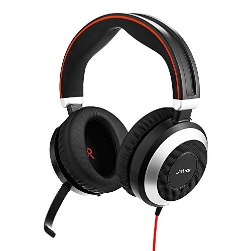 Jabra Evolve 80 MS Wired Headset Professional Telephone Headphones with Unrivalled Noise Cancellation for Calls and Music, Features World Class Speakers and All Day Comfort (Single Pack)