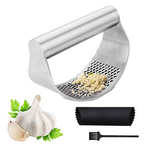 Knoblauchpresse Rocker Knoblauchschäler und Brecher Küche 304 Ingwer-Brecher aus Edelstahl in Lebensmittelqualität Ergonomie Arbeitssparend, leicht zu reinigen
