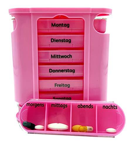 Tablettenbox Medikamentenbox Pillenbox für 7 Tage Rosa - Pillen-Tabletten-Dose Medikamentendispenser Medikamentendose Wochendosierer Woche 4-Fächer Morgens Mittags Abends Nachts