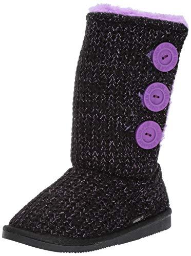 MUK LUKS Girl's Malena Boots Fashion, Ebony/Lilac, 1