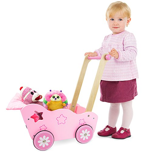 """Imagination Generation Pretty in Pink Wooden Stroller, Compatible with Brand Name 18"""" Dolls, Stuffed Animals, & Toys"""