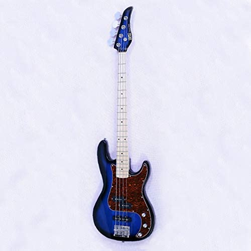 ratiomise 46 Inch 4 String Electric Bass Guitar Right Handed Basswood and Maple Matte Bass Guitar with Bag Straps Sunburst Line and Wrench for Beginners and Intermediate Players