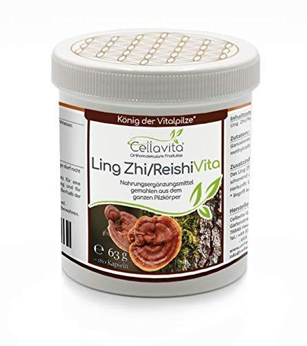 CELLAVITA Ling Zhi/Reishi Vitalpilz aus ganzen Pilzkörper   Glänzender Lackporling ohne Zusatzstoffen   180 Kapseln