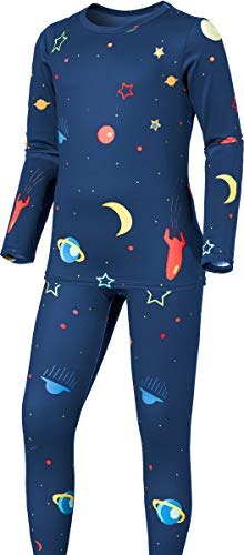 TSLA Kid's & Boy's and Girl's Thermal Underwear Set, Soft Fleece Lined Long Johns, Winter Base Layer Top & Bottom, Boy Thermal Set(khs300) - Galaxy, Small