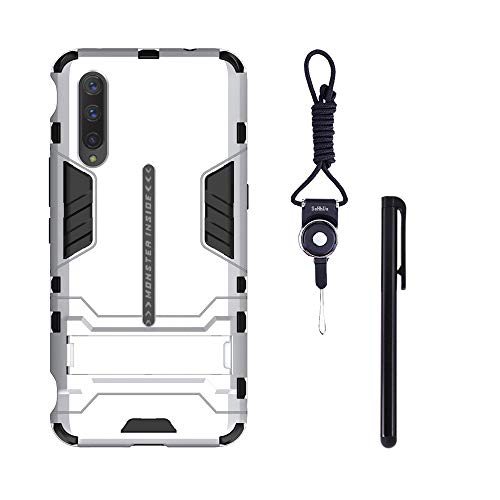 SsHhUu VIVO iQOO Pro 5G Case, Shock Proof Cover Dual Layer Hybrid Armor Combo Protective Hard Case with Lanyard + Stylus Pen for VIVO iQOO Pro 5G 2019 (6.41 Inch) Silver