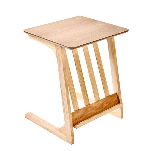 Laptain サイドテーブル ソファサイドテーブル ナチュラル マガジンラック付き おしゃれ
