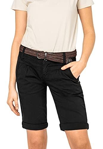Fresh Made Basic Bermuda-Shorts im Chino Stil mit Gürtel Black XXL