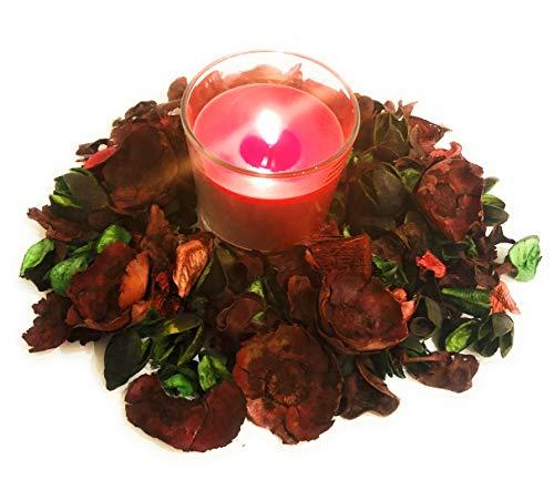 AVEELO-Versand Deko Potpourri Getrocknete Blumen Duft Raumduft Raumdeko Blüten Natur Dofta (Rot mit Kerze)