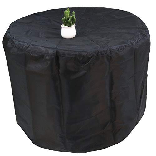 FLR - Funda para Mesa de Patio, Redonda, Impermeable, Color Negro, para Exteriores, a Prueba de Polvo, protección Redonda para Muebles de jardín o Interiores