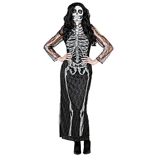 WIDMANN 10684 10684 - Disfraz de esqueleto, vestido de encaje, fiesta temática, Halloween, mujer, multicolor, XL