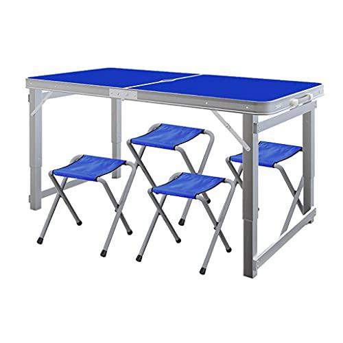 Dongxiao Mesa plegable plegable y sillas mesas de picnic portátiles de aluminio al aire libre sin montaje para interiores y exteriores, fiestas, muebles de oficina en casa (color azul)