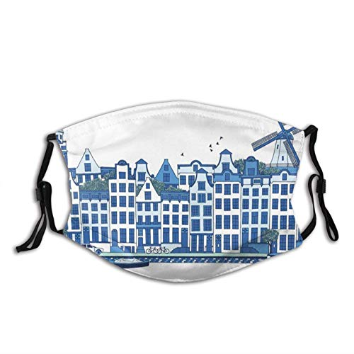 Mundschutz Blue Windmill Holland Netherlands Face With Filter Pocket Washable...