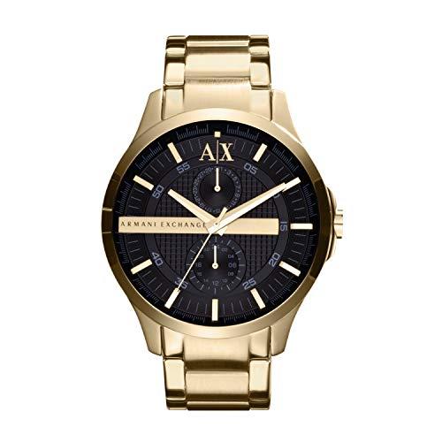 Armani Exchange Herren-Armbanduhr Ax2122 Gold Edelstahl Quarz mit schwarzem Zifferblatt