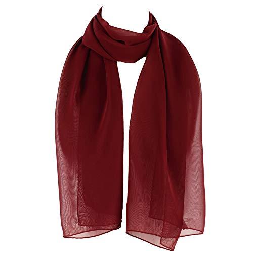 HatToSocks Chiffon Scarf Sheer Wrap for Women (Burgundy)