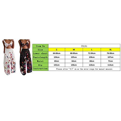 Boho - Conjunto de 2 camisetas sin mangas y pantalones largos con estampado de mariposas, estilo casual para yoga, playa, Blanco Azul B, M