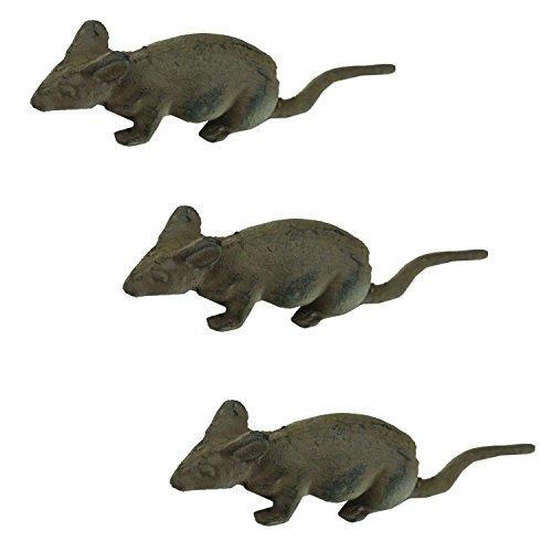 east2eden e2e Rustic Cast Iron Mouse Mice Garden Home Ornament Decoration Decor (Set Of 3)