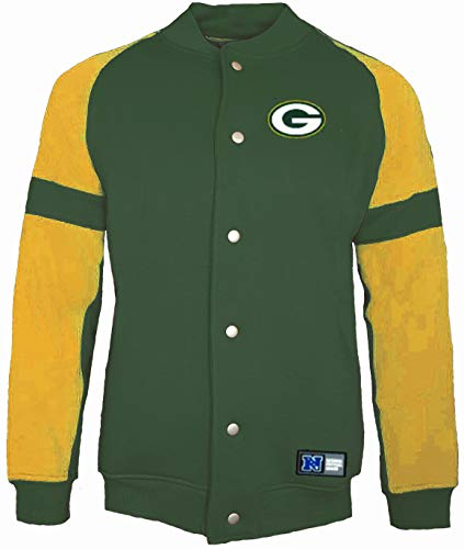 Majestic Green Bay Packers NFL Jeiter Veste polaire Letterman - Vert - Medium