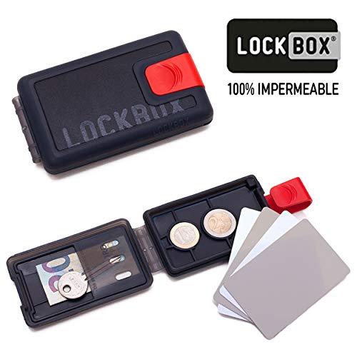 LOCKBOX Cartera Hombre Pequeña Impermeable, Billetero Resistente al Agua - Tarjetero Diseño Original para Tarjetas, Billetes, Monedas o Llaves (Negro Clip Rojo)