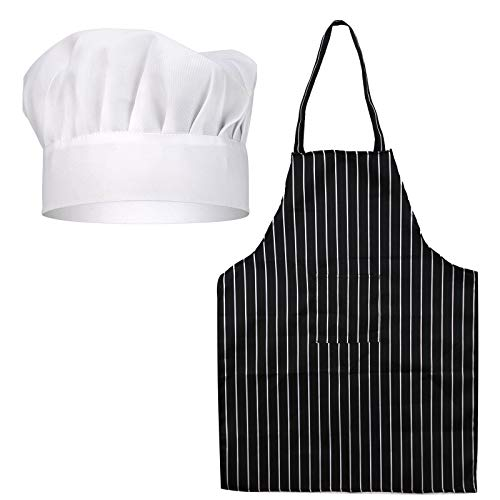 SAVITA Hat Apron Set White Chef Hat Black and White Stripped Apron Professional Chef Outfit Set For Adults House Hotel Restaurant Use