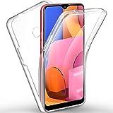 AROYI Hülle Kompatibel mit Samsung Galaxy A20s Hülle 360 Grad Handyhülle, Silikon Crystal Full Schutz Cover 2in1 Separat Hart PC Zurück mit Weich TPU Vorderseite Vorne & Hinten