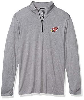 Ultra Game Mens NFL Moisture Wicking Soft Quarter Zip Long Sleeve Tee Shirt Arizona Cardinals Heather Gray Small