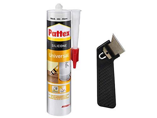 """Pattex Silikon Universal, weiß, Besonders vielseitig einsetzbar, UV- und witterungsbeständig, elastisch und abriebfest, Spar-Set mit 300 ml und einem Fugenkratzer """"Pattex Fugenhai"""", 9HPFUSWP1X"""
