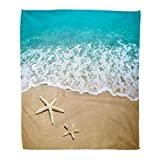 Golee Throw Blanket Blue Wave Starfish on Beach Sand Scene Water Sea Summer 60x80 Inches Warm Fuzzy Soft Blanket for Bed Sofa