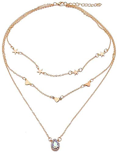 ZPPYMXGZ Co.,ltd Collar de Moda Estrella Amor Gota de Agua Diamante Hada en Capas largas Belleza Regalo de joyería