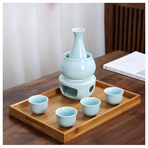 Fikujap Set de Sake Sirviendo, decoración de Estilo japonés, con 1 Taza de Sake 4 Tazas, Bandeja de bambú, para el hogar Hip Flask Warmer,B
