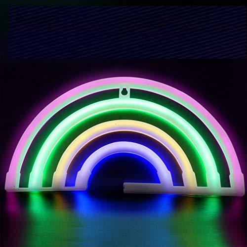 Luces LED de neón arcoíris para pared de dormitorio, luces de neón arco iris, luces LED de neón con batería o USB para fiestas, decoración del hogar, mesa y pared