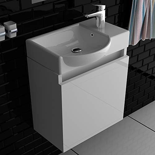 Alpenberger Vormontiertes Badmöbel-Set 45 cm in Hochglanz Weiß | Keramikwaschbecken mit Überlaufschutz | Waschbeckenunterschrank mit Soft-Close Funktion | Komplett-Set