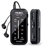 Pocket Radio Mini AM FM Stereo Radio Portable Battery Operated Radio, Includes Headphones, with Back Clip and Signal Indicator, Operated by AAA Batteries for Walking and Jogging, J-985 by PRUNUS