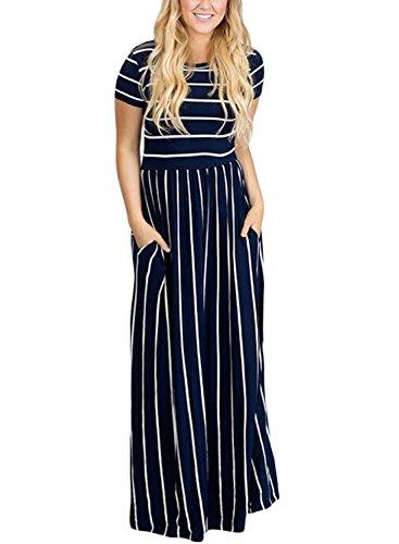 HOTAPEI Women's Summer Casual Loose Striped Long Dress Short Sleeve Pocket Maxi Dress Navy Blue