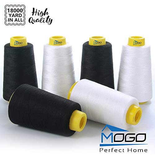 Serger Thread,Sewing Thread, All Purpose 100% Polyester Thread, White & Black 6 Pack of 3000 Yard Each Spool (Upholstery, Canvas, Drapery, Beading, Over Lock, Merrow, Single Needle)