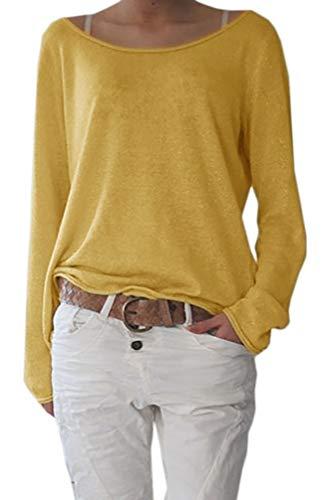 Mikos* Sexy Rundhals Ausschnitt Langarm Lose Bluse Strick Pullover Farben Sommer Herbst Winter S-M-L-XL-(632) (Senf, L/XL)