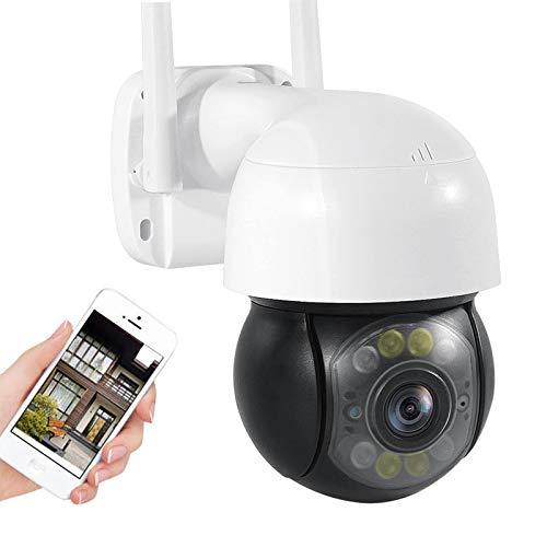 Cámara de vigilancia exteriores,Cámara de seguridad WiFi,1080P HD PTZ CCTV IP Cámara,IP66 impermeable,visión nocturna,audio de 2 canales,alarma,detección de movimiento,Onvif (Cámara+tarjeta TF de 64G)
