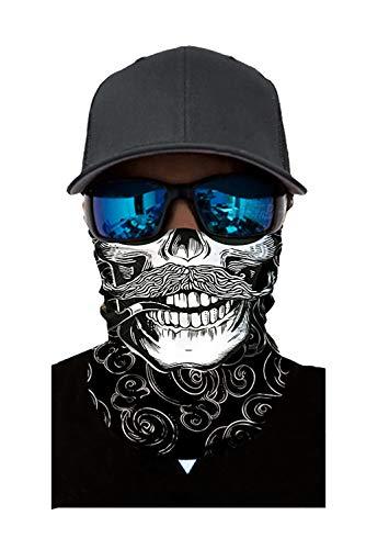 Seamless Rave Bandana Dust Wind Sun UV Protection Neck Gaiter Mask Face Scarf(a.skull white Beard)